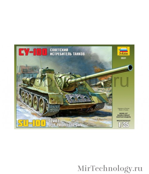 Сборная модель ZVEZDA Советский истребитель танков СУ-100 (3531) 1/35