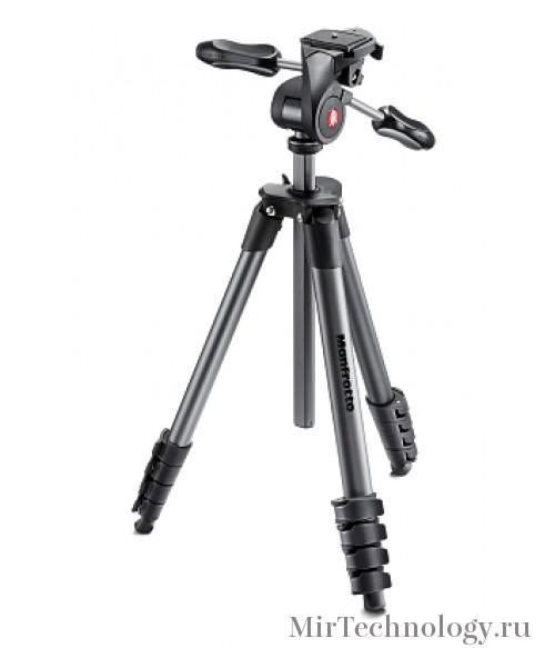 Manfrotto MKCOMPACTADV-BK Compact Advanced штатив с 3D головкой для фотокамеры (черный)